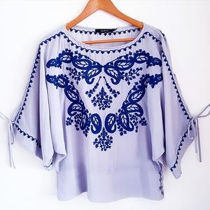 ARK & CO. Gray & Blue Embroidered Top